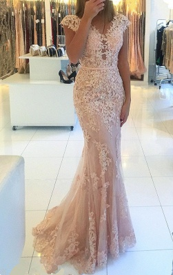 Cap Sleeves Lace Tulle Pink Evening Dress | Mermaid 2020 Cheap Party Dresses_1