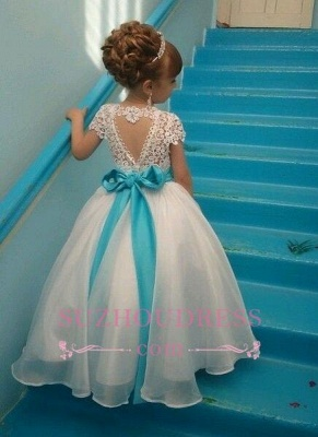 Blue Sash Short Sleeves Crystals Girls Pageant Dress Puffy Tulle Flower Girl Dresses BA3744_1