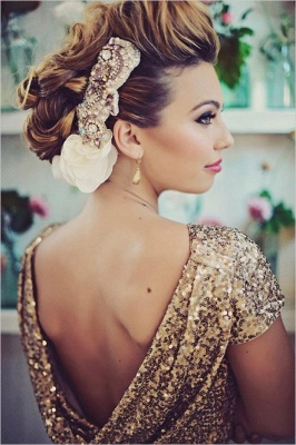 2020 Sparkly Gold Sequins Wedding Party Dresses Floor Length Open Back Bridesmaid Dress_4