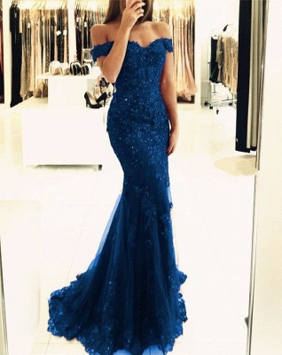 Glamorous Mermaid Lace Prom Dress 2020 Off-the-shoulder Red Appliques Evening Dress_4