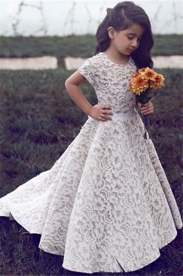 Lovely Scoop Lace Short Sleeves Girls Pageant Dresses 2020 Cheap Flower Girl Dress FB0104