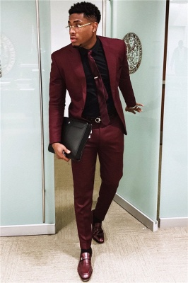 2020 Handsome Burgundy Mens Suits | Slim Fit Tuxedos Cheap One Button Formal Prom Suit (Blazer Pants)_1