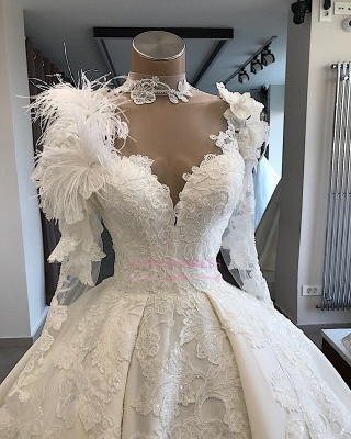 Long-Sleeves Brilliant High-Neck Appliques Flowers Feather Wedding Dresses_3