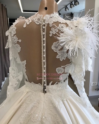 Long-Sleeves Brilliant High-Neck Appliques Flowers Feather Wedding Dresses_4