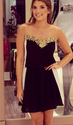 Latest Chiffon Short Summer Dress with Lace Sleeveless Open Back Mini Homecoming Gowns_1