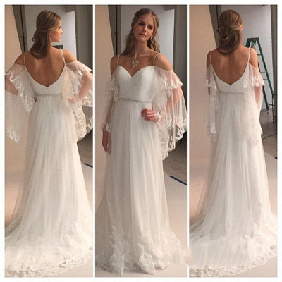Spaghetti Straps Sweetheart Beach Wedding Dress 2020 Illusion Sleeves Bridal Gowns BA0545_3