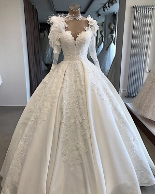 Long-Sleeves Brilliant High-Neck Appliques Flowers Feather Wedding Dresses_5