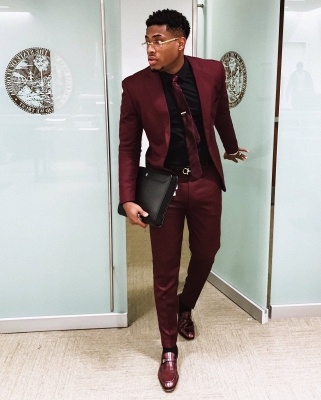 2020 Handsome Burgundy Mens Suits | Slim Fit Tuxedos Cheap One Button Formal Prom Suit (Blazer Pants)_2