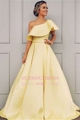 2020 Chic One-Shoulder Sleeveless A-line Prom Dresses |  Cheap Ribbon Evening Gown On Sale_3