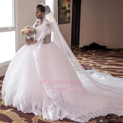 2020 Lace-Appliques Ball-Gown Gorgeous Cap-Sleeve Long Tulle Wedding Dress_2