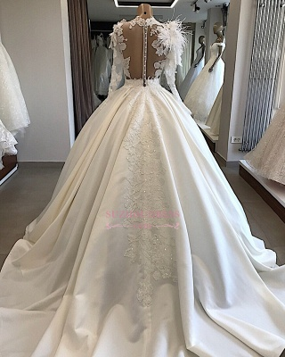 Long-Sleeves Brilliant High-Neck Appliques Flowers Feather Wedding Dresses_2