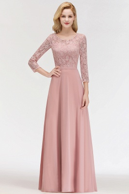 Pink Lace Long Evening Dresses with Sleeves | 2020 A-Line Scoop Bridesmaid Dresses Cheap_6