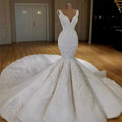 Elegant Mermaid Lace Wedding Dresses Online | Sleeveless Puffy Bridal Gowns 2020_3