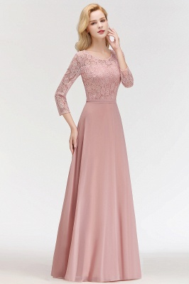 Pink Lace Long Evening Dresses with Sleeves | 2020 A-Line Scoop Bridesmaid Dresses Cheap_4