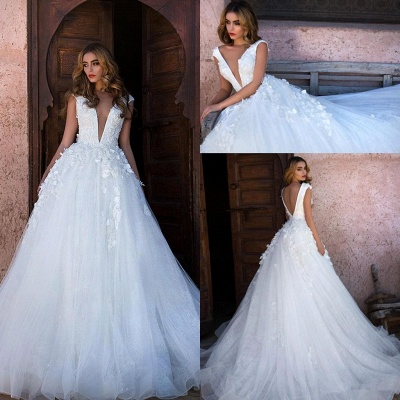Sexy V-neck Lace Appliques Sleeveless Puffy Tulle Cheap Wedding Dresses on Sale_3