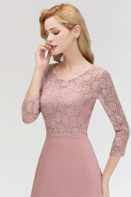 Pink Lace Long Evening Dresses with Sleeves | 2020 A-Line Scoop Bridesmaid Dresses Cheap_8