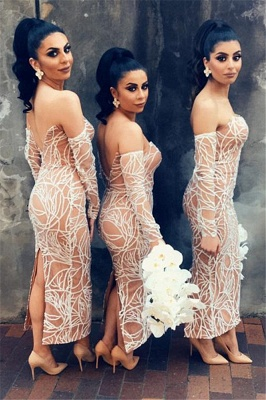 Nude Lining Sexy Bridesmaid Dresses Cheap   Long Sleeve Back Slit Strapless Wedding Party Dresses_4