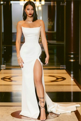 Strapless Sexy Side Slit Evening Dresses Cheap Online | Black White Sleeveless Cheap Formal Party Dress 2020 BC0527_3