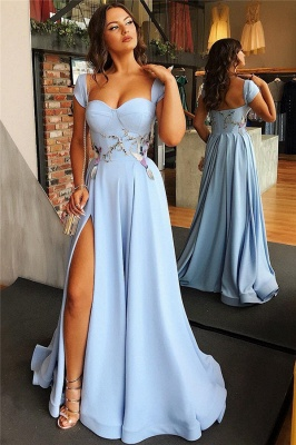 Cap Sleeves Open Back Blue Formal Evening Dress 2020 | Sexy Side Slit Appliques Prom Dresses Cheap bc1747_3