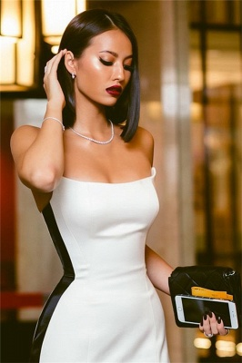 Strapless Sexy Side Slit Evening Dresses Cheap Online | Black White Sleeveless Cheap Formal Party Dress 2020 BC0527_4