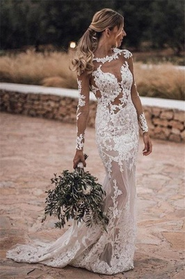 Sheer Tulle Lace Appliques Sexy Summer Beach Wedding Dress | Sheath Cheap Long Sleeve Outdoor Wedding Dress