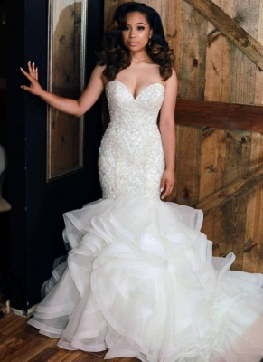 Sexy Strapless Mermaid Ruffle Wedding Dresses 2020 | Beads Lace Appliques Cheap Bridal Gowns_1