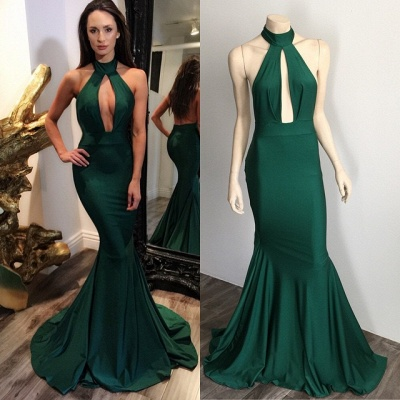 Dark Green Halter Key Hole Evening Dresses Backless 2020 Mermaid Prom Gowns CE0028_3