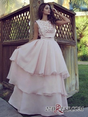 Pink A-line Tiered Evening Dresses 2020 | Cheap Chiffon Appliques Formal Dresses_2