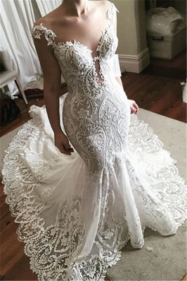 Sexy Lace Mermaid Wedding Dress 2020 | Glamorous Sheer Tulle Bridal Gowns with Buttons_1