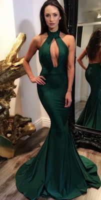 Dark Green Halter Key Hole Evening Dresses Backless 2020 Mermaid Prom Gowns CE0028_2