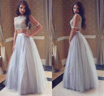Beadings Tulle Long Beautiful Two-Pieces Prom Dress_3
