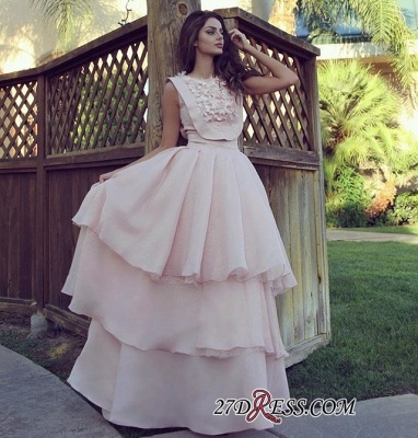 Pink A-line Tiered Evening Dresses 2020 | Cheap Chiffon Appliques Formal Dresses_1