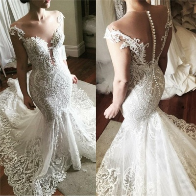 Sexy Lace Mermaid Wedding Dress 2020 | Glamorous Sheer Tulle Bridal Gowns with Buttons_3