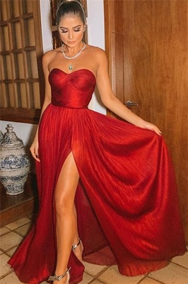 Burgundy Strapless Side-Slit Prom Gown | Sexy Sweetheart A-Line Prom Dresses_1