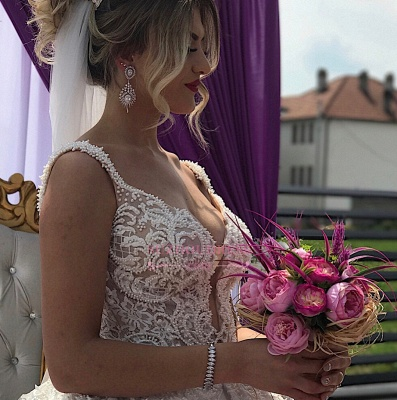 Appliques V-neck A-line Straps Sleeveless Fascinating Wedding Dresses_3