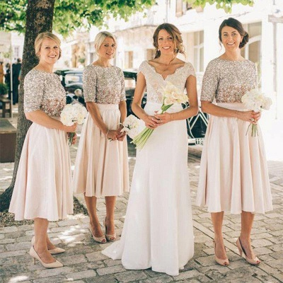 Silver Top Half Sleeves Short Bridesmaid Dress | 2020 Cheap Baby Pink Bridesmaid Dress Online_3