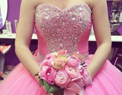 Lovely Candy Pink Sweetheart Ball Gown Quinceanera Dress Beads Crystals Plus Size Formal Dress_2