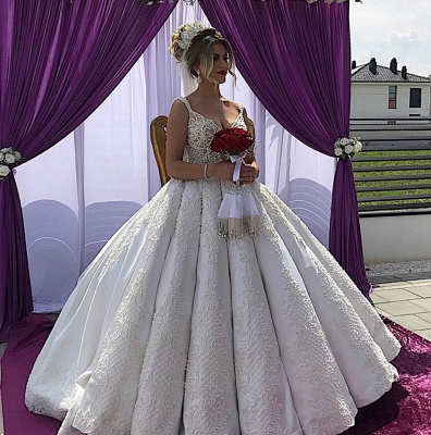 Appliques V-neck A-line Straps Sleeveless Fascinating Wedding Dresses_4