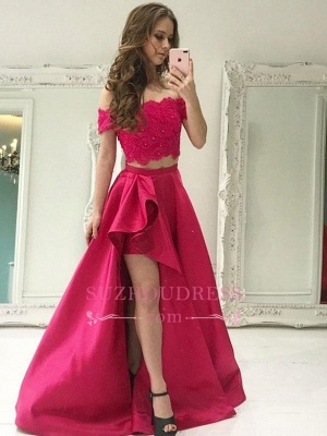 Sexy Two Pieces A-line Prom Dresses 2020 | Hi-Lo Off the Shoulder Lace Evening Dress_2