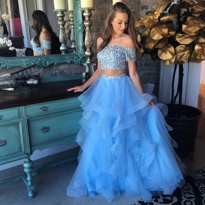 Off the Shoulder Crystals Beads 2020 Two Piece Prom Dress Blue Organza Tiere Ruffles Evening Gown FB0227_3