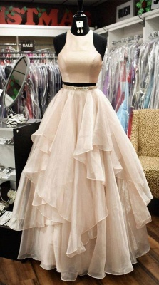 Chic Baby Pink Two Pieces Evening Dresses | Jewel A-Line Sleeveless Tiered Prom Dresses 2020_2