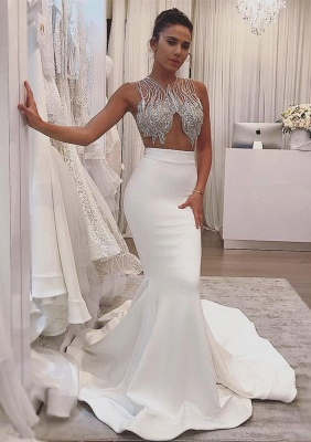 Sheer Tulle Sexy Sleeveless Mermaid Sparkle Wedding Dresses for Summer Beach