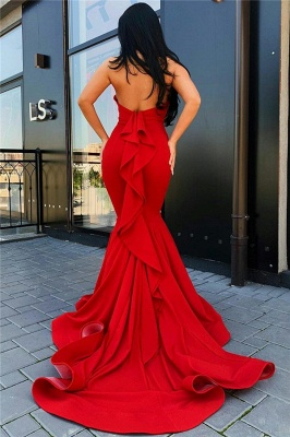 Backless Mermaid Sexy Prom Dresses Red 2020 | Sleeveless Ruffles Cheap Formal Evening Gowns with Court Train bc3498_2