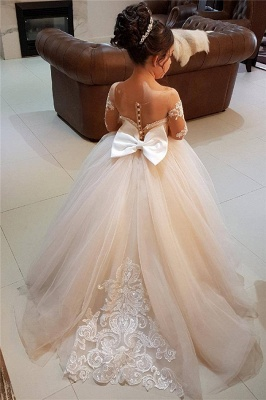 Lovely Pink Tulle Long Sleeves Bowknot Flower Gril Dresses with Choker SK0006_7