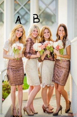 2020 Popular Stitching Bridesmaid Dresses with Lace Sequined for Wedding and Prom_1
