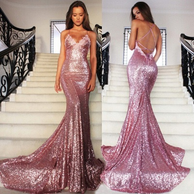 Rose Pink Mermaid Sequins Party Dresses Spaghetti Strap Long Evening Gowns AE0124_4