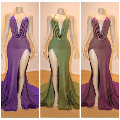 V-neck Dropped Sexy Formal Evening Dresses | Sleeveless Side Slit Cheap Prom Dresses 2020_2