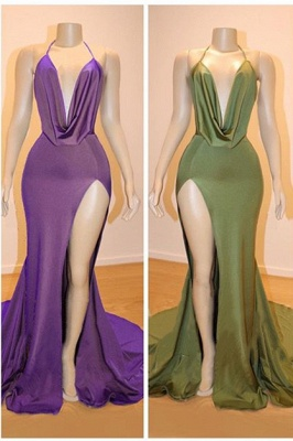 V-neck Dropped Sexy Formal Evening Dresses | Sleeveless Side Slit Cheap Prom Dresses 2020_1