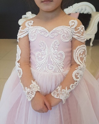 Lovely Pink Tulle Long Sleeves Bowknot Flower Gril Dresses with Choker SK0006_6