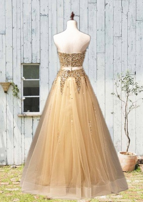 Sweetheart Organza Floor Length 2020 Prom Dresses Sequined Gorgeous Crystal Evening Dresses_2
